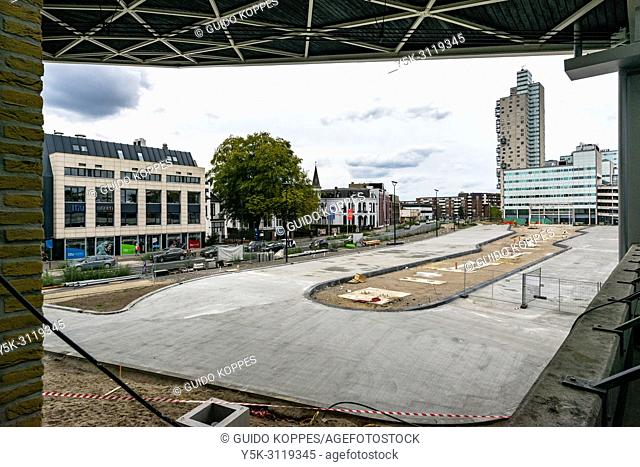 Tilburg, Netherlands. A newly bus terminal is being build at cetnral railway station