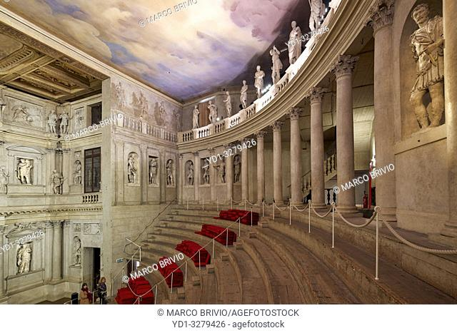 "Vicenza, Veneto, Italy. The Teatro Olimpico (""""Olympic Theatre"""") is a theatre in Vicenza, northern Italy, constructed in 1580-1585"