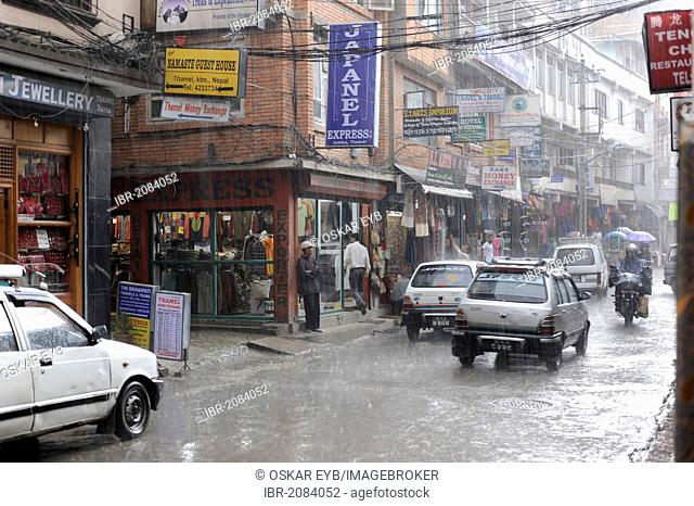 Monsoon rains in the tourist district of Thamel, Kathmandu, Bagmati, Nepal, South Asia, Asia