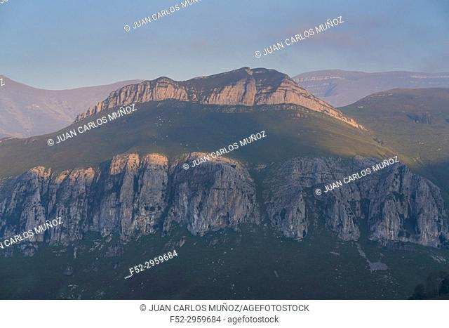View from San Roque de Riomiera, Miera Valley, Valles Pasiegos, Cantabria, Spain, Europe