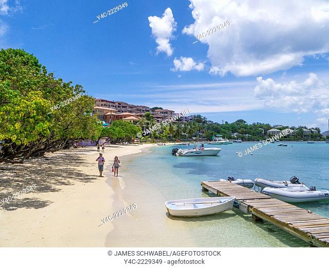 Waterfront and harbor of Cruz Bay on the Caribbean Island of St John in the US Virgin Islands