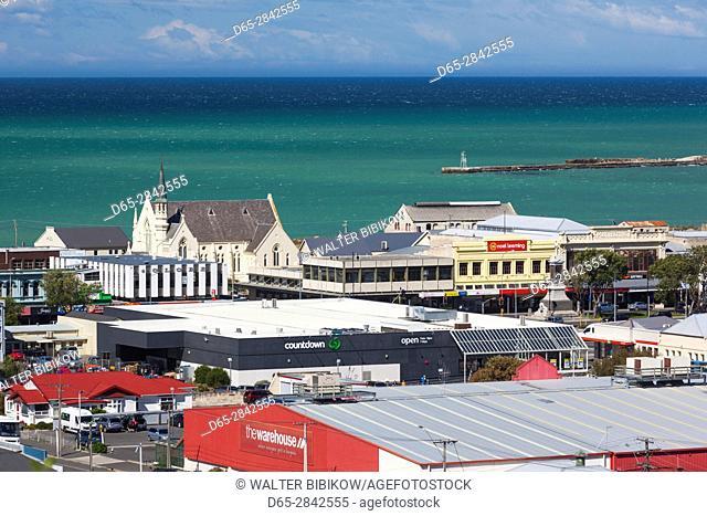 New Zealand, South Island, Otago, Oamaru, elevated town view