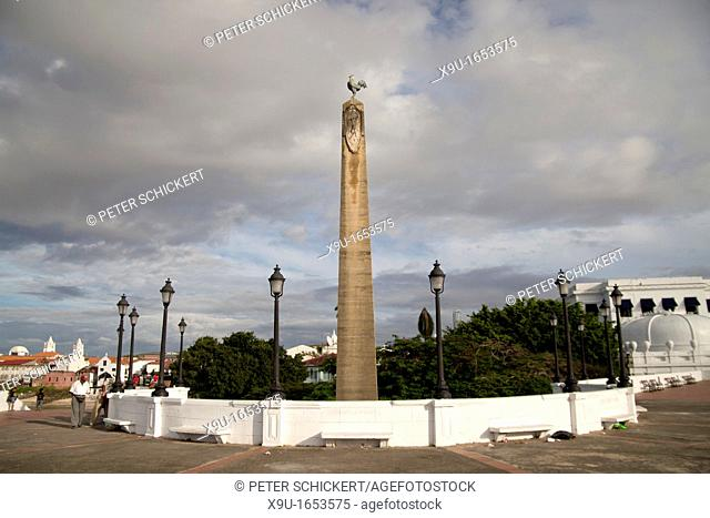 Obelisk with the French rooster on Plaza de Francia square in Panama City, Panama, Central America