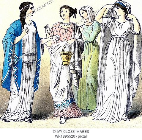 The figures illustrate four ancient Greek women (from different classes and in a variety of outfits). The illustration dates to 1882