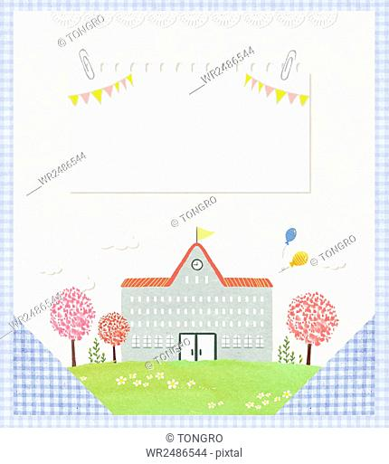 Illustration of school and trees with clipped paper