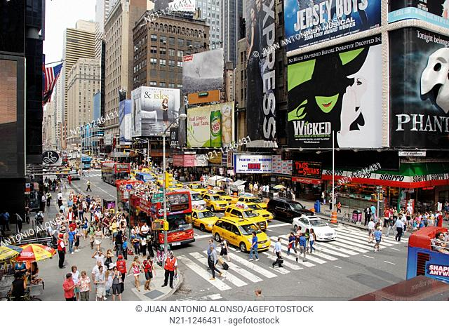 Seventh Avenue at 47th Street from Duffy Square. Times Square. Theater District. Manhattan. New York, New York. USA