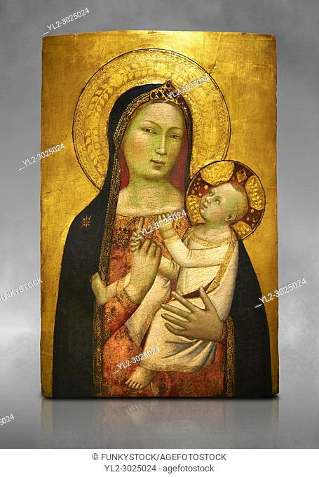 Gothic altarpiece of Madonna and Child by Bernardo Daddi, circa 1340-1345, tempera and gold leaf on wood. National Museum of Catalan Art, Barcelona, Spain