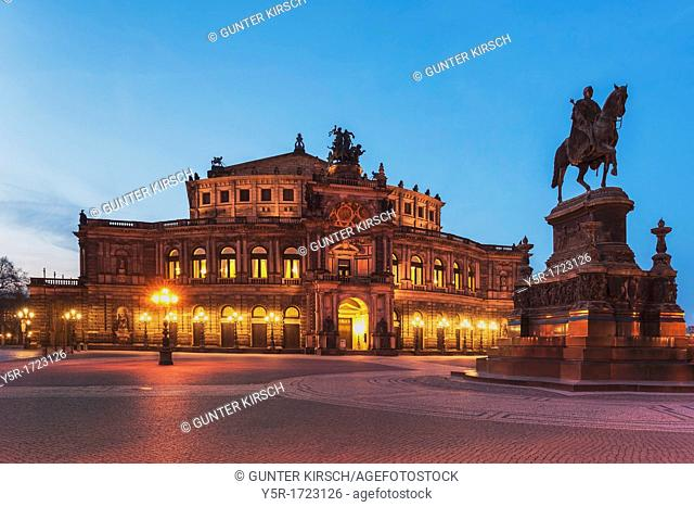 View over the Theater square to Semper Opera House and the equestrian statue of King Johann of Saxony, Dresden, Saxony, Germany, Europe