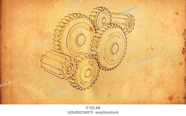 gears cogs and pinions sketch on old paper