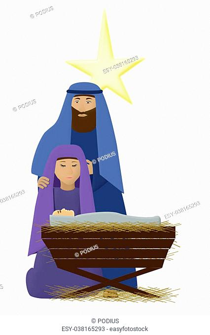 an illustration of baby Jesus, mary and joseph