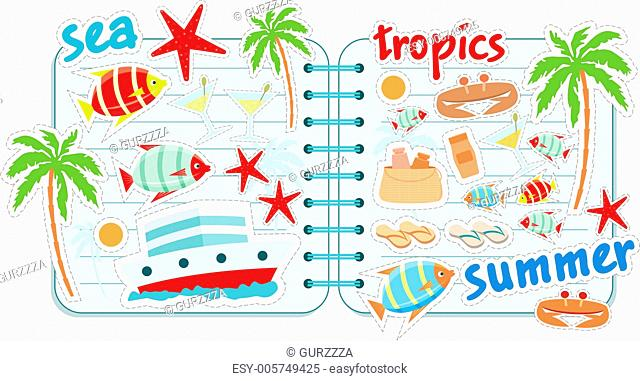 Scrapbook elements with tropics