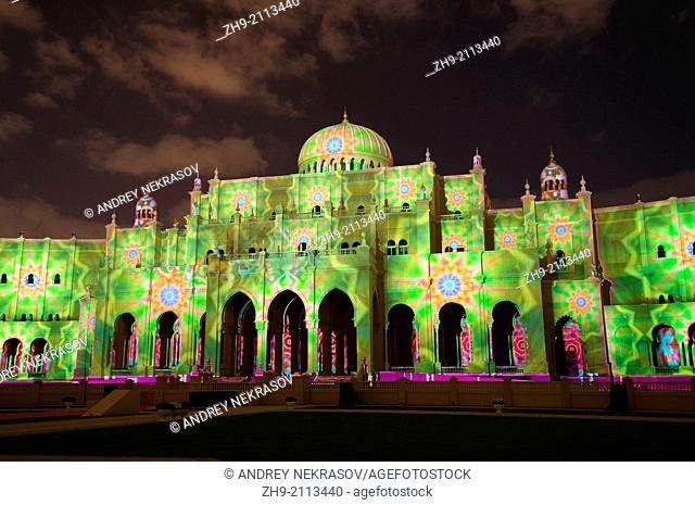 Sharjah Light Festival, Islamic Museum of civilization, emirate Sharjah, United Arab Emirates, Near East