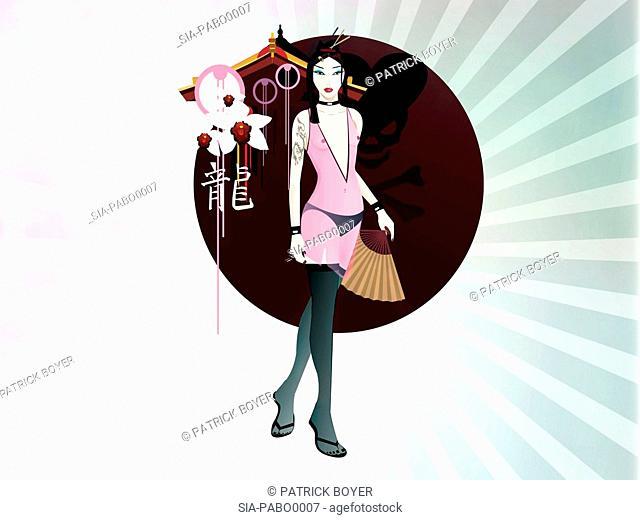 Portrait of woman with hand fan