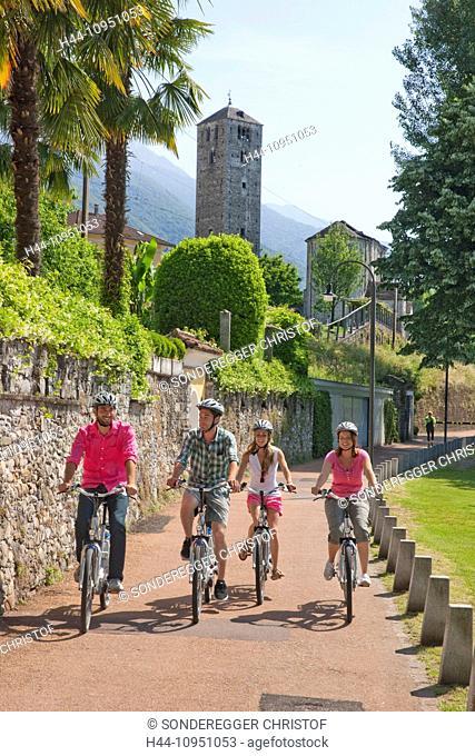 Switzerland, Europe, lake, summer, canton, TI, Ticino, Southern Switzerland, Lago Maggiore, Ascona, village, wheel, bicycle, bicycle, bicycles, bike