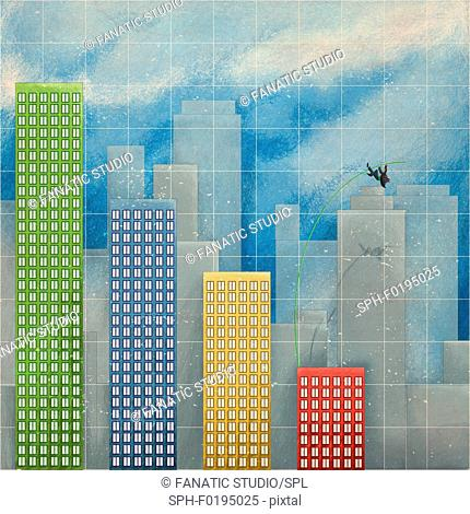 Illustration of businessman pole vaulting over bar graph