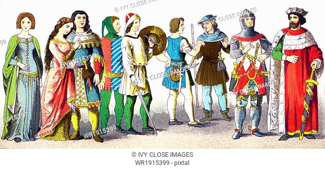 This illustration, which dates to 1882, shows Germans in period dress from A.D. 1300-1350. They are, from left to right: two women of rank, two men of rank