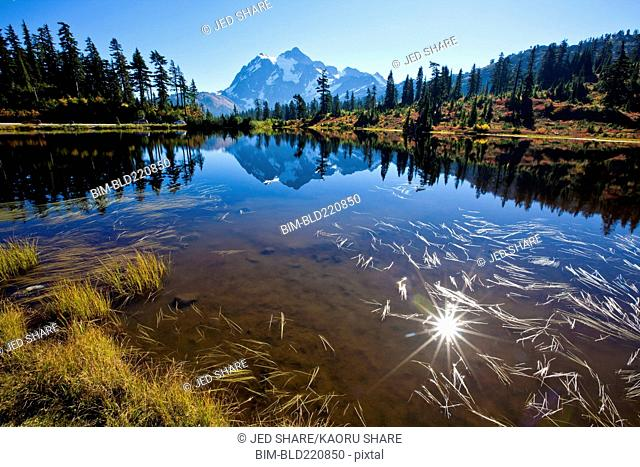 Mountain and hills reflecting in still lake