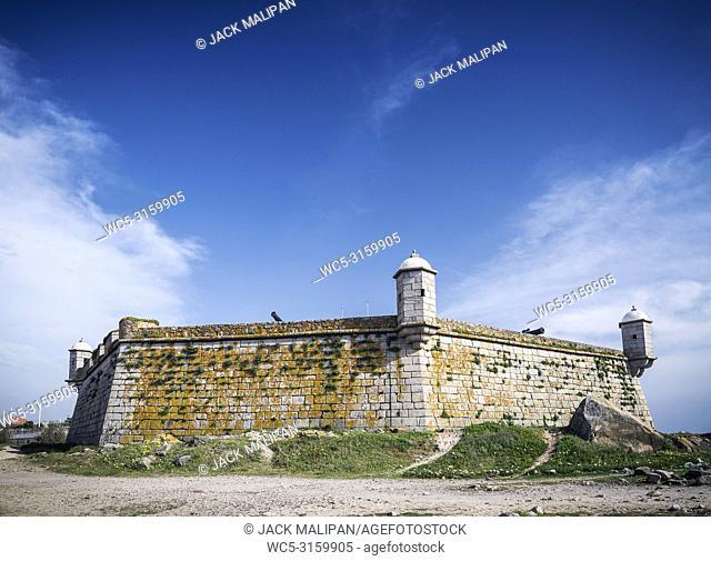 castelo do queijo coast fort landmark in foz beach area of porto portugal