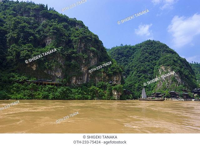 Sail boats on Yangtze river, People scenic Three Gorges(Sanxiarenjia), Xilingxia of Three Gorges(Sanxia) on Yangtze river(Changjiang), Yichang, Hubei Province
