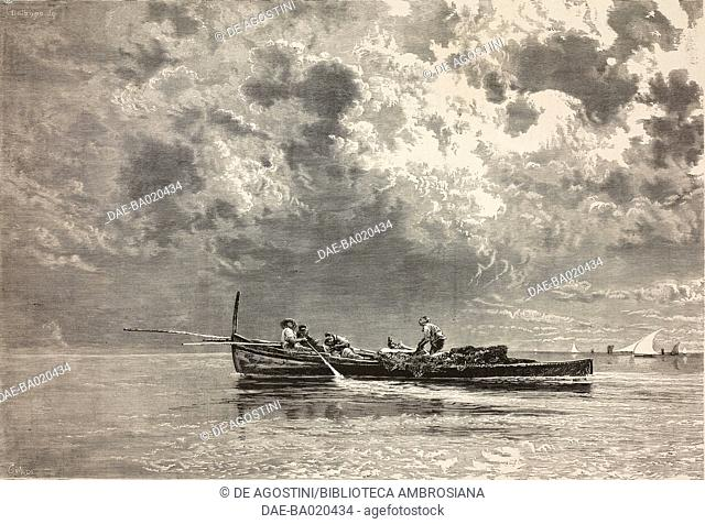 Autumn clouds, fishermen in a rowing boat, engraving from a painting by Edoardo Dalbono (1841-1915) presented at the National exhibition of Fine Arts in Turin