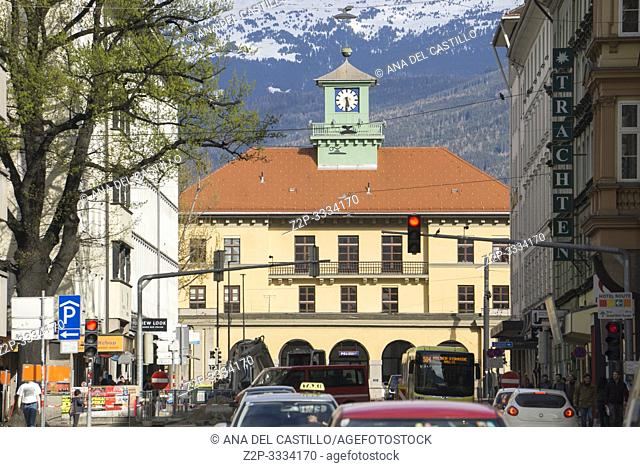 Innsbruck city center Austria on April 16, 2019: The Police Station