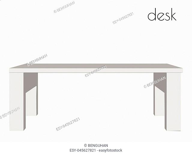 EPS 10 vector illustration of desk silhouette on white background