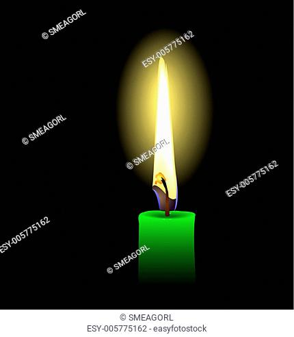 Realistic illustration of green candle - vector