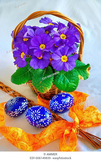 Colorful easter decorations, eggs and spring flowers