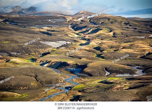 Aerial view, rhyolite mountains covered in snow and ashes, Landmannalaugar, Fjallabak Nature Reserve, Highlands of Iceland, Iceland, Europe