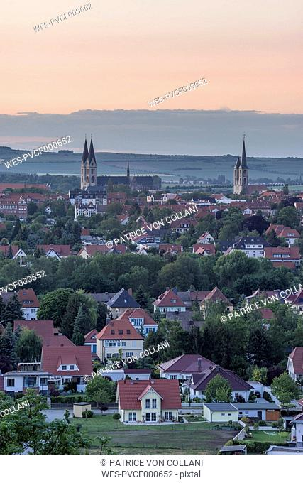 Germany, Saxony-Anhalt, Halberstadt with Cathedral in the evening