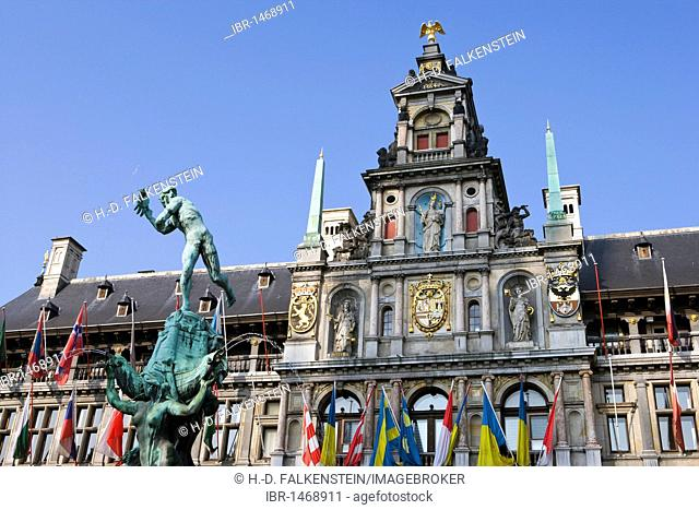 The Silvius Brabo fountain in front of the city hall on the Grote Markt square, Antwerp, Flanders, Belgium, Europe