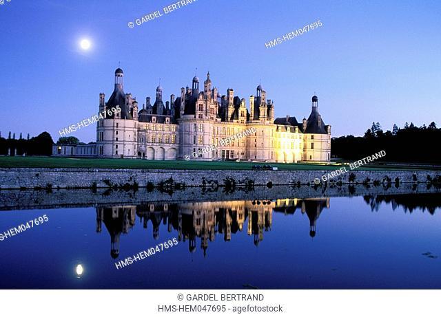 France, Loir et Cher, Night Lighting on Chambord Castle Loire River's Castles