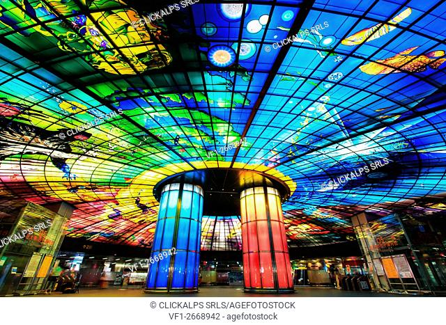 Kaohsiung, Taiwan. The Dome of Light at Formosa Boulevard Station, the central station of Kaohsiung subway system in Kaohsiung City