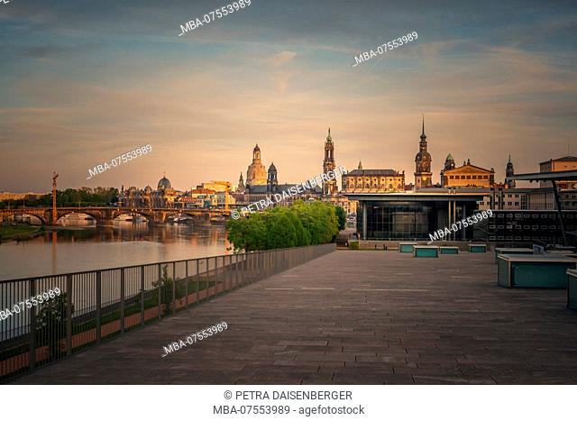 Panoramic view of Dresden at sunset, Landtag (State Parliament) and other old town buildings