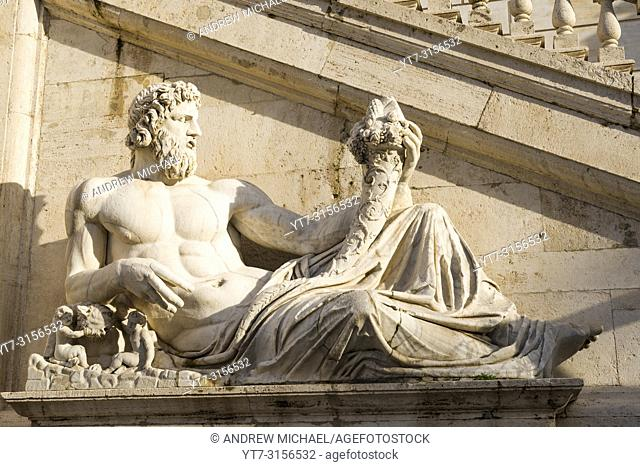 Tiber River God Sculpture at Capitoline Museums in Rome, Italy