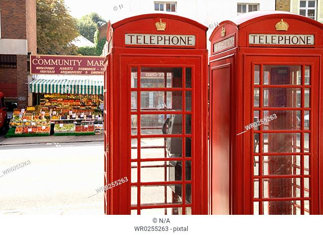 Red telephone booths, London, United Kingdom