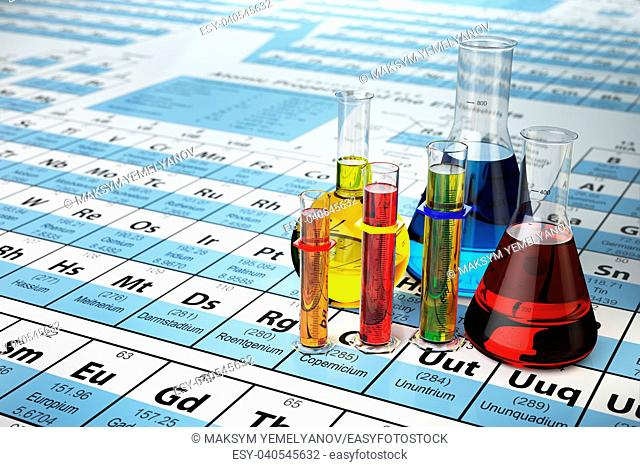 Science chemistry concept. Laboratory test tubes and flasks with colored liquids on the periodic table of elements. 3d illustration