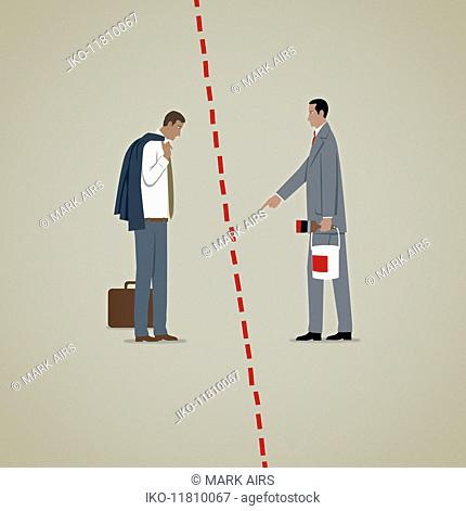 Man pointing to new red line excluding stunned businessman
