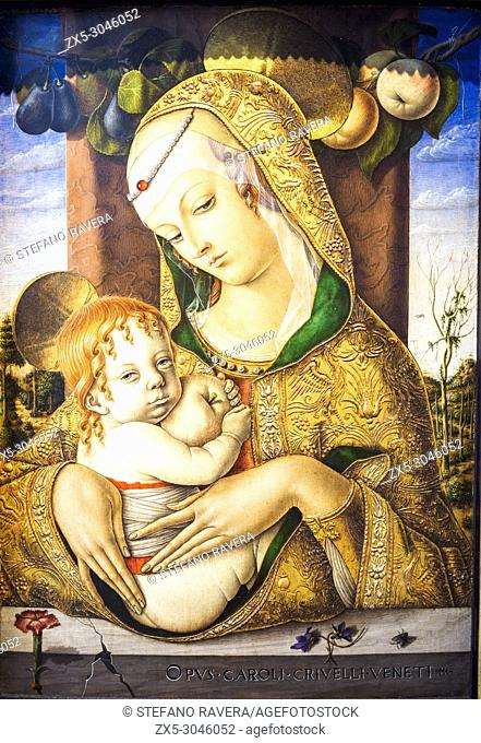 The Virgin and Child wilth St. John the baptist. about 1480. by Carlo Crivelli (1430/5-94/5). tempera on panel. Victoria and Albert Museum - London, England