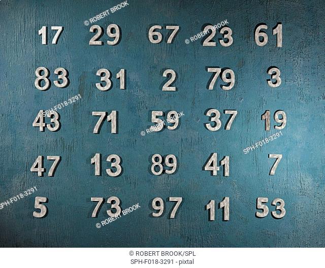 All primes below 100. Computer artwork
