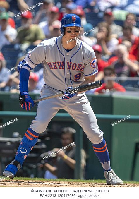 New York Mets center fielder Brandon Nimmo (9) draws a walk in the second inning against the Washington Nationals at Nationals Park in Washington, D.C