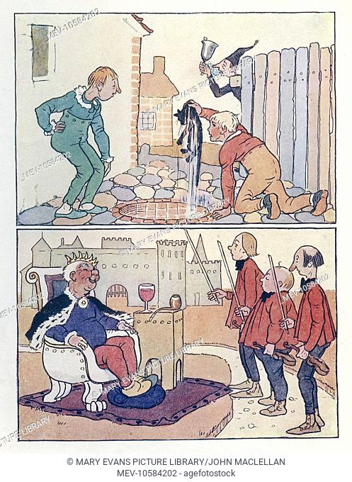 Nursery Rhymes. Above is Ding Dong Bell, with an unfortunate (or by this time fortunate) cat being pulled out of a well. Below is Old King Cole