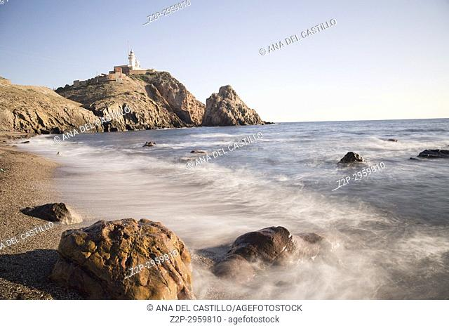 Volcanic coast near Cabo de Gata lighthose, Almeria, Andalusia, Spain