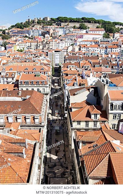 High angle view of Castelo Sao Jorge in city, Lisbon, Portugal