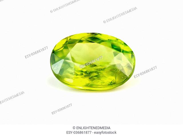 Green titanite sphene natural gemstone