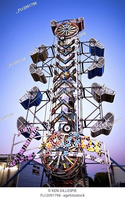 The zipper amusement park ride at the morden corn & apple festival, morden, manitoba, canada