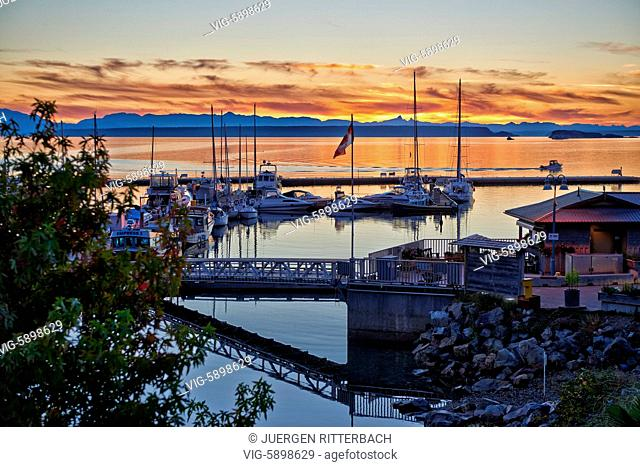 sunset at yacht harbour of Lund, Sunshine Coast, Vancouver Island Behind, British Columbia, Canada - Lund, Sunshine Coast, British Columbia, Canada, 21/09/2014