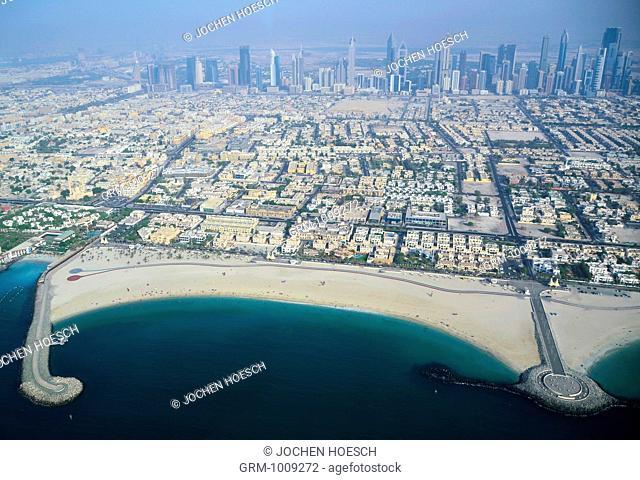 Aerial View of Jumeirah and Satwa area, Dubai, UAE