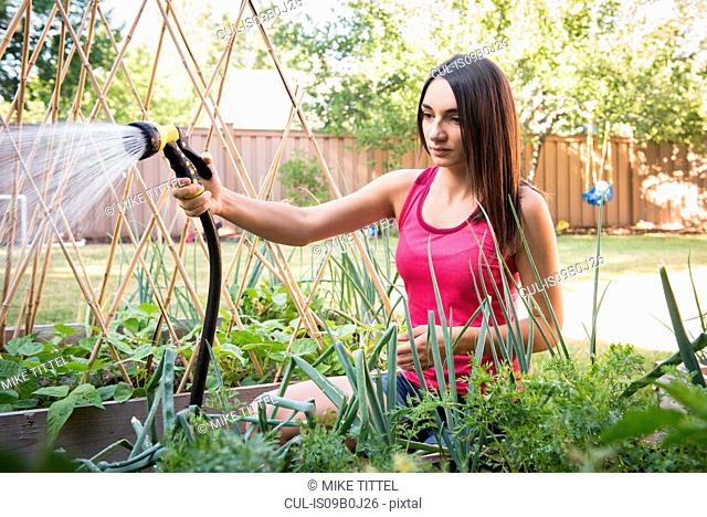 Young woman water plants in garden with garden hose