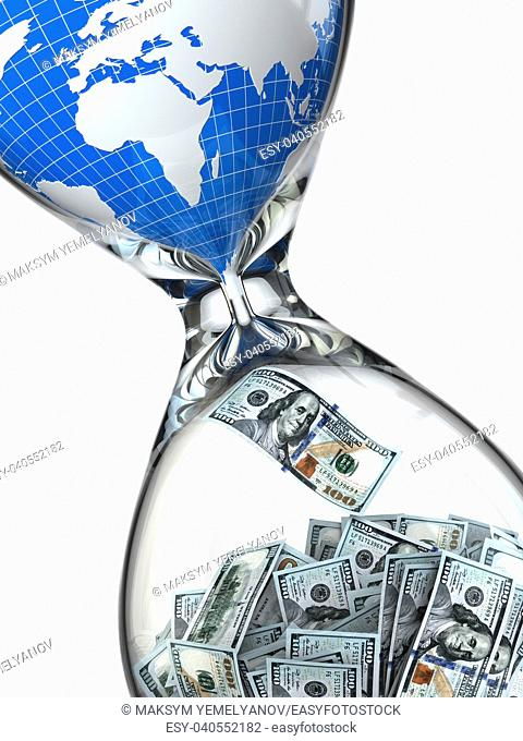 Hourglass, money and earth. Consumption of natural resources. 3d